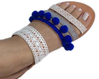 Summer Sandals. Greek leather sandals. Cobalt blue pom pom sandals. bohemian shoes
