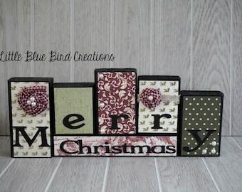 Merry Christmas -  wood blocks- Holiday home decor -  Christmas gift - happy holidays
