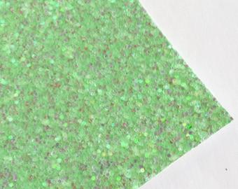 SALE 8x11 Mint Iridescent Chunky Glitter Fabric Sheet