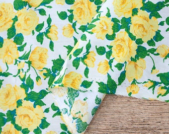 Yellow Roses Cotton Fabric, Floral Fabric - Yellow - 57 Inches Wide - Fabric By the Yard 86425