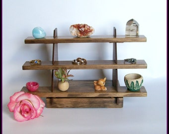 Small Shelves for Rings,  Miniatures, Crystals - Three Shelves - Wood - Walnut Stained
