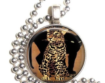 Vintage Leopard and Panther Altered Art Pendant, Earrings and/or Keychain, Round Photo Silver and Resin Charm Jewelry