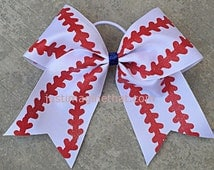 "3"" Width Cheer Bow 7""x7"" Texas Size Cheer Bow White with Red Stitch Glitter Softball Baseball Bow"