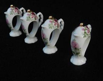 Teapot Shaped Napkin Rings: Hand Decorated Porcelain