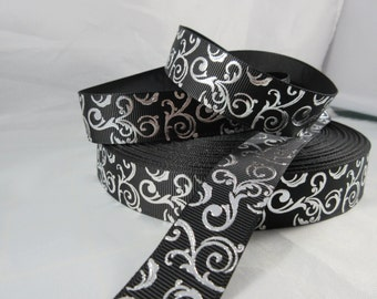 silver swirl on black grosgrain ribbon, 7/8 inch Ribbon by the yard, foil grosgrain ribbon, silver Filler ribbon, RN15364