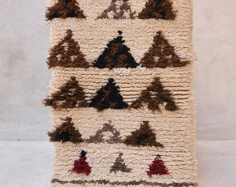 """The MOUNTAINS Are Calling, I MUST GO 4'4"""" x 2 Boucherouite Rug. Tapes Moroccan Berber. Mid Century Modern Design Compliment. FA15-178"""