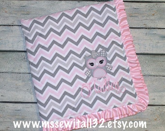 Personalized Quilted Baby Blanket with Ruffled Satin Trim - Design Your Own Blanket