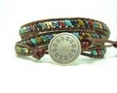 Beaded Leather Wrap Bracelet, Multicolor Superduo Beaded Wrap Bracelet, Triple Wrap Bracelet, Southwestern Style Wrap