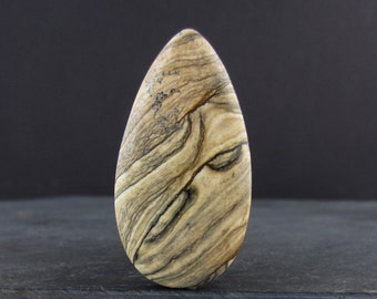 SALE Lovely Picture jasper  cabochon, Natural stone B5985