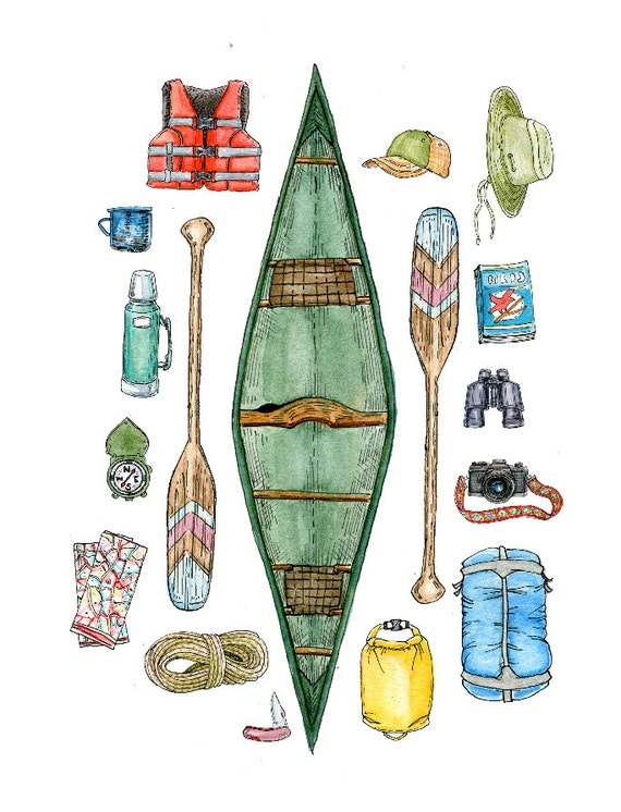 Go Canoeing Pen And Ink Illustration Watercolor Painting