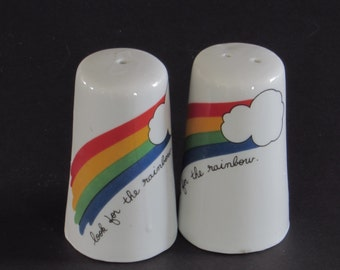 Rainbow Salt and Pepper Shakers - Colorful Vintage Kitchen Home Decor