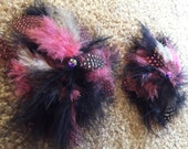 Pink Black Rhinestone Feather Paties