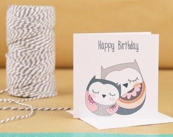Mini Owl Happy Birthday Card, Cute Owl Card
