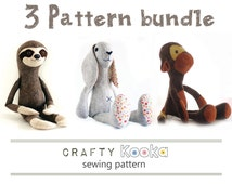 Sewing pattern pdf bundle of 3 stuffed animals patterns, sloth pattern, monkey pattern, bunny rabbit pattern