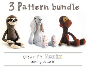 Sewing pattern pdf bundle of 3 stuffed animals patterns, sloth pattern, monkey pattern, bunny rabbit pattern