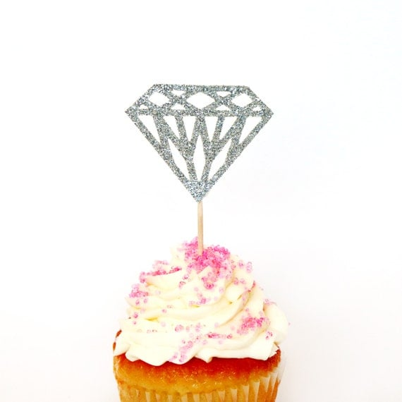 Silver Glitter Diamond Cupcake Toppers - Birthdays, Parties, Weddings, Bachelorette, Baby Shower, Diamond Ring