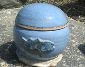 2 half size urns (so 2 siblings can each have half) with fish blue