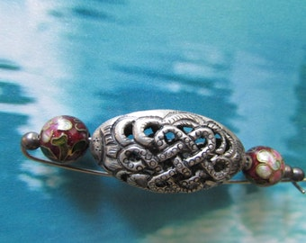 vintage BROOCH/PIN Boho Retro Asian Inspired Cloisonne Silver Hat Pin  Celtic Style