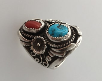 Vintage Native American Ring STERLING Ring CORAL TURQUOISE Ring Navajo Size  8.5