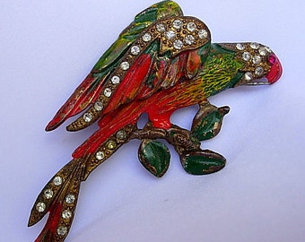 Jose Rodriguez Red Macaw Vintage Colorful Enamel Rhinestone Pot Metal Brooch Book Piece Dimensional Patented 1940 Signed Star Mark USA Made