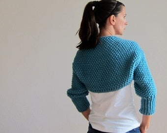 Cable Knitted Bolero in Blue. Knitted Sleeves. Chunky Scarf Blue. Knitted Shrug. Knitter Shawl Blue. Chunky knit coat Blue