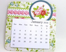 Garden Theme Calendar 2016, Mini Calendar, Rose Blossoms, Pink and Red Flower Calendar, Botanical Calendar