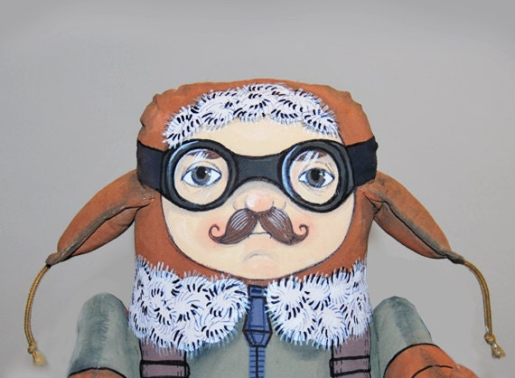 max the pilot painted art doll - soft sculpture