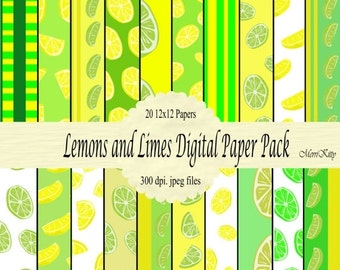 """ON SALE 65% OFF Instant Download - Digital Scrapbook Paper Pack - Lemons and Limes - No.5 - 20 12""""x12"""" Digital Papers"""