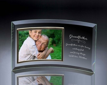 Engraved Curved Glass Photo Frame for Grandfather