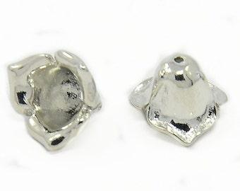 4pc 8x7mm brass made platinum look bead caps-7288F