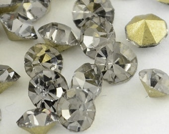 288pc MachineCut Point back Foil Rhinestone 6MM black diamond -7623k