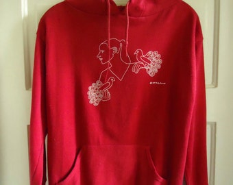 Vintage 70s Girl and Bird Graphic Hoodie sz S