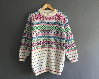 Bright 80s Fair Isle Christmas Sweater