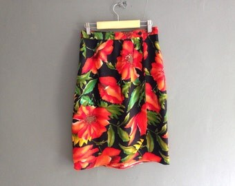 80s Wrap Effect Skirt with Poppies