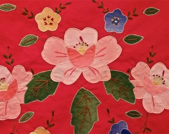 Vintage Applique and Embroidery Tablecloth 50 x 68