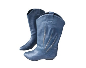 80s boots blue boots vintage boots cowboy boots winter boots womens boots