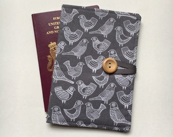 Passport cover case cute dove birds grey organic cotton fabric
