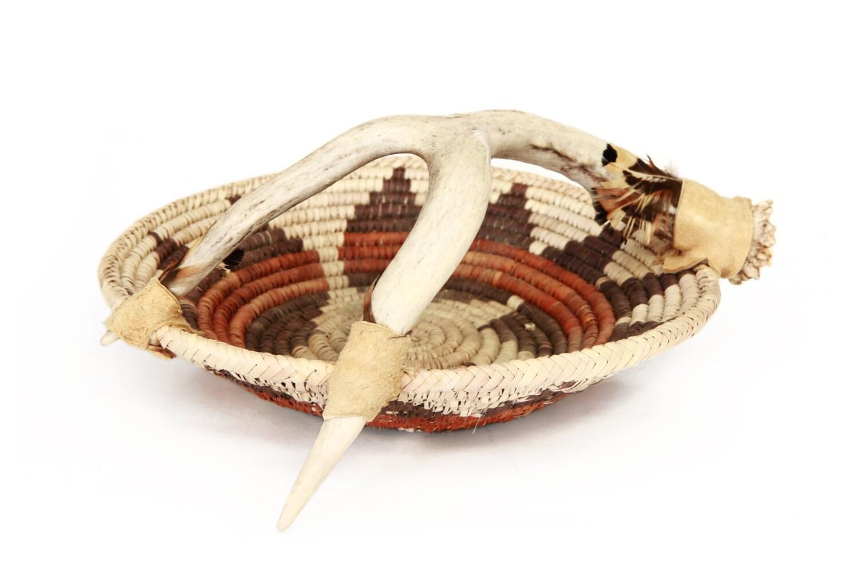 Handwoven Antler Basket Native American Round Woven Bowl