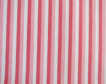 Vintage Sheet Fabric Fat Quarter - Pink & White Stripe