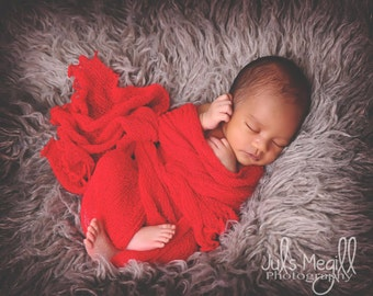 Red RTS Stretchy Soft Newborn Knit Wraps 80 colors to choose from, photography prop newborn prop wrap