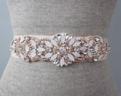 Rose Gold Beaded Opal Rhinestone Wedding Sash / Belt, Blush Bridal Sash