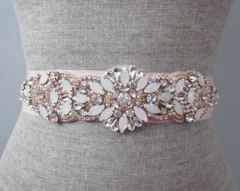 Rose Gold Beaded Opal Rhinestone Wedding Sash / Belt, Blush Crystal Sash