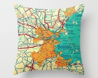 BOSTON Map Pillow Cover, Boston Throw Pillow, Massachusetts Gift, Boston Map Gift, Dad Gift Boston Pillow MA Throw Pillow, Dad Birthday Gift