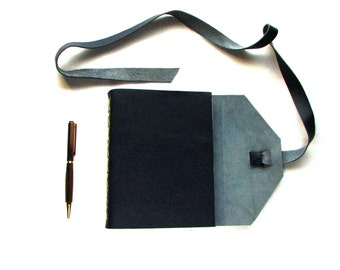 Large Leather Journal, Leather Sketchbook in Navy Blue with Double Wrap Tie