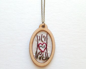love necklace personalized necklace embroidered initial necklace embroidered letter custom monogram necklace tree jewelry gifts for her