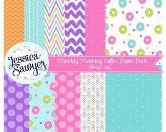 INSTANT DOWNLOAD, donut digital papers or cute backgrounds