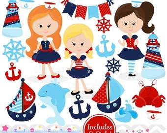 80% OFF - INSTANT DOWNLOAD, Nautical Girls Clipart for commercial and personal use