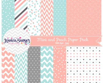 INSTANT DOWNLOAD, mint and peach digital paper or wedding backgrounds for commercial use or personal use