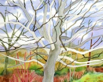 Original Watercolour Landscape Painting with Winter Trees, Autumn Colours