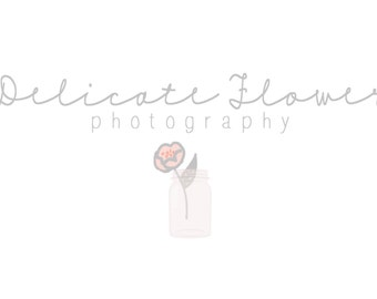Flower Mason Jar Logo and Watermark